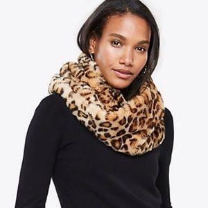 Ann Taylor Leopard Faux Fur Snood/Wrap Scarf